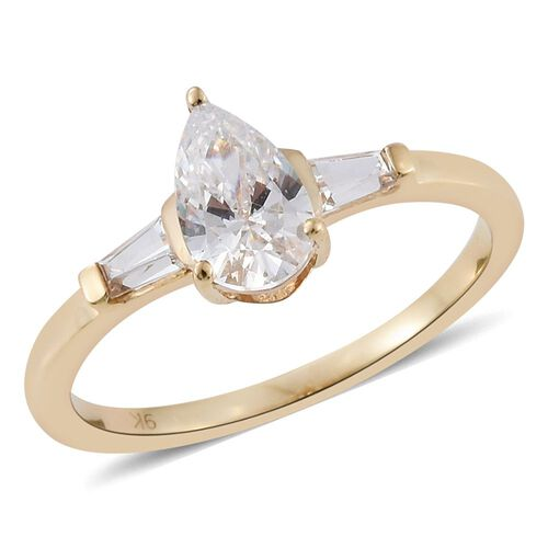 J Francis - 9K Yellow Gold Pear Ring Made with SWAROVSKI ZIRCONIA