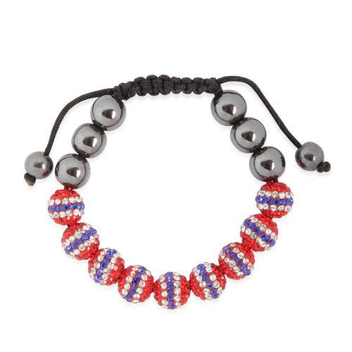Orange, White, Blue Austrian Crystal and Hematite Bracelet (Adjustable)