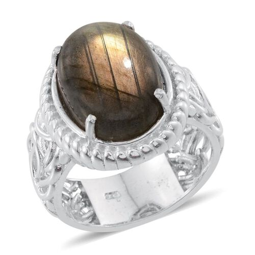 Labradorite (Ovl) Ring in Platinum Overlay Sterling Silver 10.000 Ct.