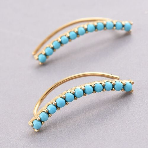 Arizona Sleeping Beauty Turquoise Silver Ear Climber Earrings in Gold Overlay