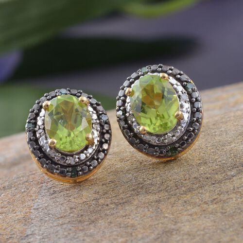 Limited Edition Design - AAA Hebei Peridot (Ovl), Green and White Diamond Stud Earrings (with Push Back) in Platinum and Yellow Gold Overlay Sterling Silver 2.750 Ct.
