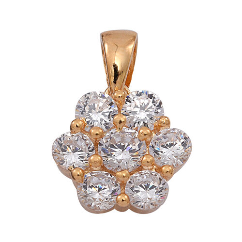 ELANZA AAA Simulated Diamond (Rnd) 7 Stone Floral Pendant in 14K Gold Overlay Sterling Silver