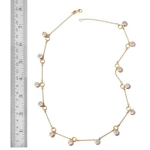 Mercury Mystic Topaz (Rnd) Necklace (Size 20) in 14K Gold Overlay Sterling Silver 12.000 Ct.