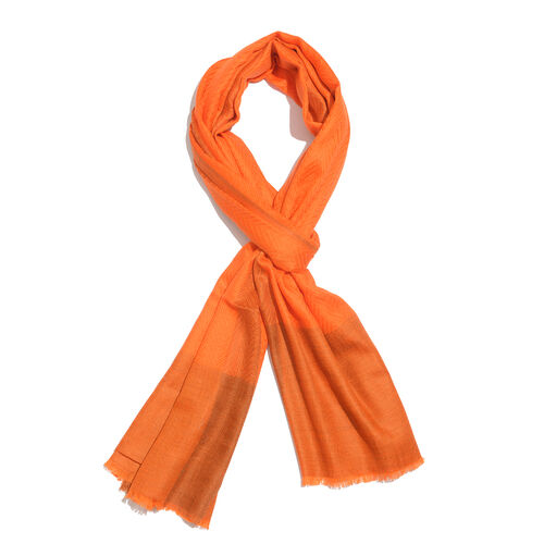 100% Cashmere Wool Orange Colour Zigzag Pattern Shawl with Fringes (Size 200X65 Cm)