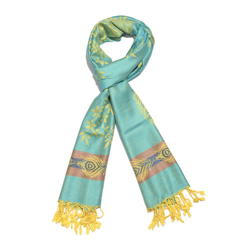 Turquoise, Golden and Multi Colour Peacock Pattern Jacquard Scarf with Tassels (Size 190X70 Cm)