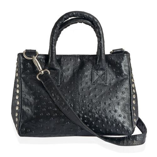 Genuine Leather Ostrich Pattern Black Colour Handbag with Removable Shoulder Strap (Size 26x20 Cm)