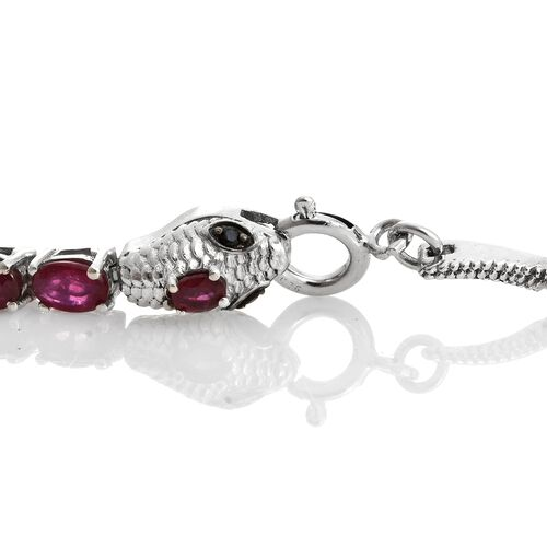 Designer Inspired-African Ruby (Ovl), Boi Ploi Black Spinel SERPENTINE Bracelet (Size 7.5) in Platinum Overlay Sterling Silver 19.000 Ct. Silver wt 11.12 Gms.
