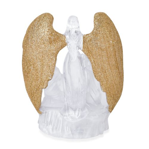 White Colour LED Light Angel with Golden Feathers Gaurding a Family (Size 16X9 Cm)