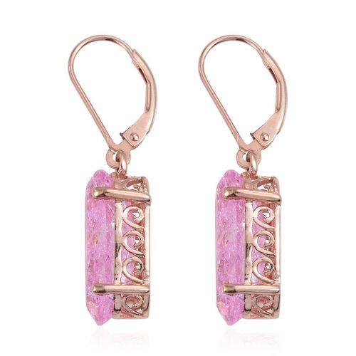 Hot Pink Crackled Quartz (Ovl) Lever Back Earrings in Rose Gold Overlay Sterling Silver 10.250 Ct.