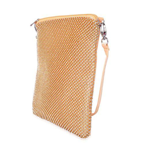 White Austrian Crystals Embellished Golden Colour Crossbody Bag (Size 26X22 Cm) with Removable Shoulder Strap