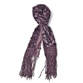 Designer Inspired - Chocolate Colour Leaf Pattern Velvet Wrap with Lace and Extra Long Tassels (Size 160X50 Cm)