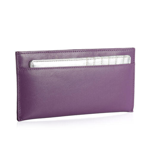 Genuine Leather RFID Blocker Purple Colour Wallet (Size 20x8 Cm) with Card Holder
