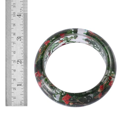 Natural Red Colour Flower Preserved Bangle (Size 7.75)