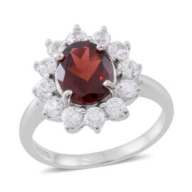 Rare Size AAA Mozambique Garnet (Ovl 3.00 Ct), Natural White Cambodian Zircon Floral Ring in Rhodium Plated Sterling Silver 5.000 Ct.