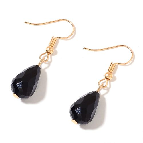 Simulated Black Spinel Necklace (Size 20 with 3 inch Extender) and Hook Earrings in Yellow Gold Tone with Stainless Steel
