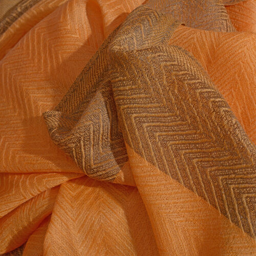100% Cashmere Burnt Orange Colour Scarf (Size 200x70 Cm)