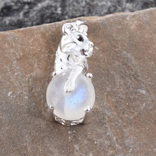 Sri Lankan Rainbow Moonstone (Rnd), Boi Ploi Black Spinel Leopard Pendant in Sterling Silver 7.750 Ct. Silver wt 5.94 Gms.