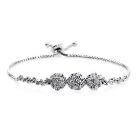 New Concept - Designer Inspired - Firecracker Diamond (Bgt) Bolo Bracelet (Size 6.5 to 8) in Platinum Overlay Sterling Silver 0.760 Ct. Silver wt 6.00 Gms.