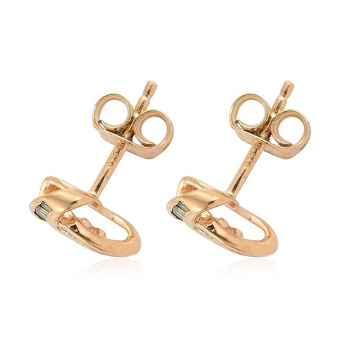 Green Diamond (Bgt) Triple Knot Stud Earrings (with Push Back) in 14K Gold Overlay Sterling Silver 0.250 Ct.