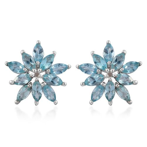 Paraiba Apatite (Mrq), Diamond Floral Stud Earrings (with Push Back) in Platinum Overlay Sterling Silver 3.000 Ct.