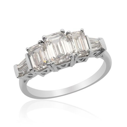 J Francis - Platinum Overlay Sterling Silver (Oct) Ring Made with SWAROVSKI ZIRCONIA  2.660 Ct.