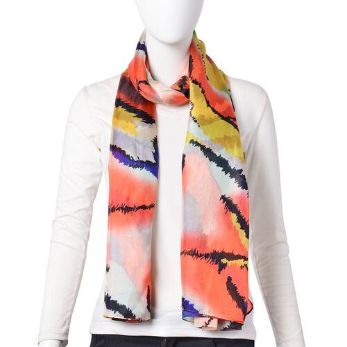 One Time Deal-Designer Inspired 100% Mulberry Silk Orange, Off White and Multi Colour Abstract Printed Scarf (Size 180X110 Cm)