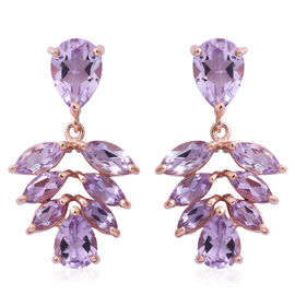Rose De France Amethyst (Pear) Earrings (with Push Back) in Rose Gold Overlay Sterling Silver 9.740 Ct.