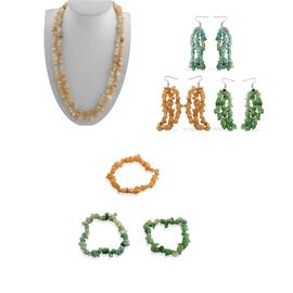 Set of 7 Pcs - Amazonite, Green Aventurine, Peach and White Moonstone Necklace (Size 50), Hook Earrings and Bracelet (Stretchable) in Stainless Steel