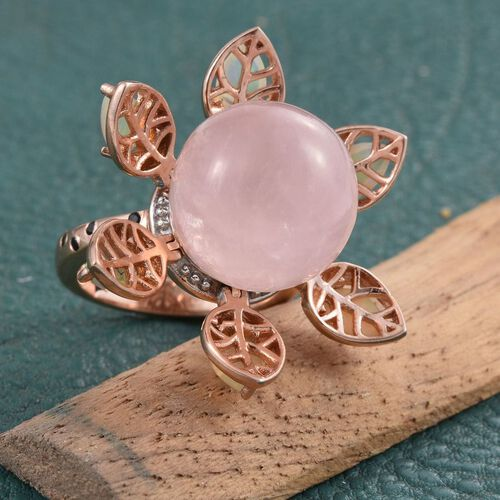 GP Rose Quartz (Rnd), Ethiopian Welo Opal, Boi Ploi Black Spinel and Kanchanaburi Blue Sapphire Flower Ring in Rose Gold Overlay Sterling Silver 16.730 Ct.