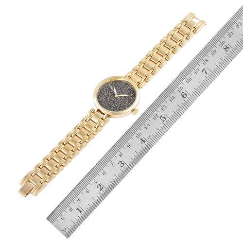 GENOA Smoky Black Swarovski Crystal Watch in Yellow Gold Tone