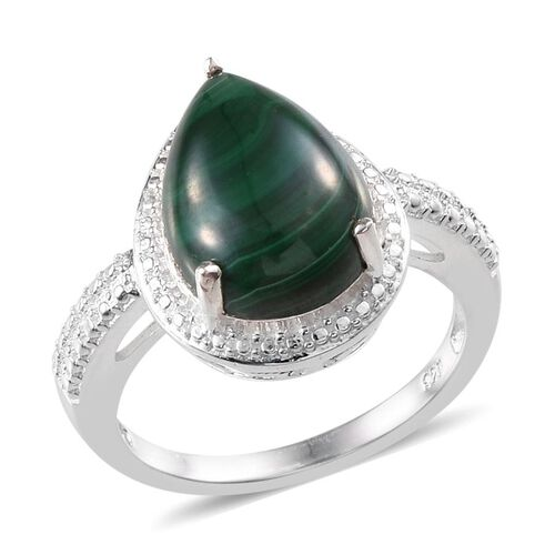 Malachite (Pear) Solitaire Ring in Sterling Silver 5.750 Ct.