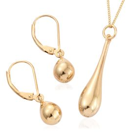 Drop Pendant with Chain and Lever Back Earrings Set in Gold Plated Silver 9.01 Gms.