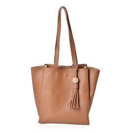 Camel Colour Tote Bag With Tassels and Shoulder Strap (Size 33x26.5x23.5x11.5 Cm)