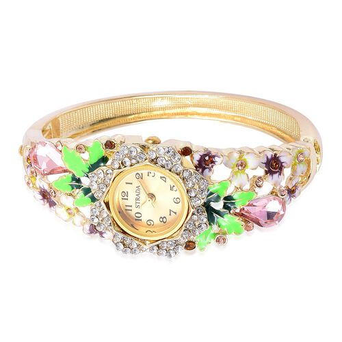 STRADA Japanese Movement Simulated Pink Sapphire and Multi Colour Austrian Crystal Purple Enameled Floral Design Bangle Watch in Yellow Gold Tone