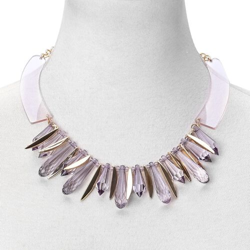Simulated Amethyst BIB Necklace (Size 20 with 1.5 inch Extender) in Yellow Gold Tone