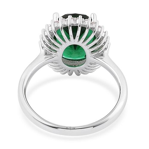 AAA Simulated Russian Diopside and Simulated White Diamond Ring in Rhodium Plated Sterling Silver