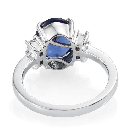 RHAPSODY 950 Platinum AAAA Tanzanite (Oval 4.50 Ct), Diamond (VS E-F) Ring 5.000 Ct.