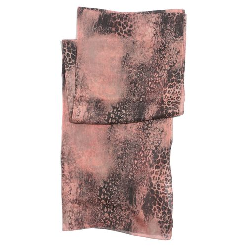 100% Mulberry Silk Leopard Pattern Pink and Black Colour Scarf (Size 180x50 Cm)