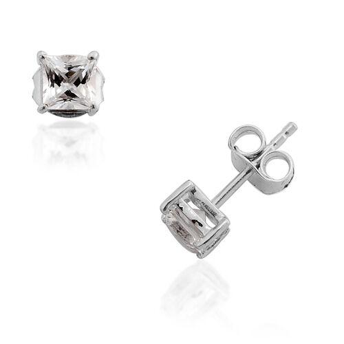 Golconda Diamond Topaz (1.04 Ct) Platinum Overlay Sterling Silver Earring