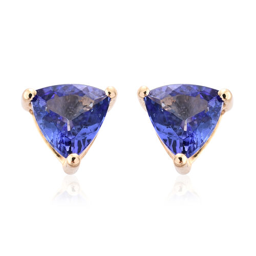 ILIANA 18K Yellow Gold 1 Carat AAA Tanzanite (Trl) Stud Earrings (with Screw Back)