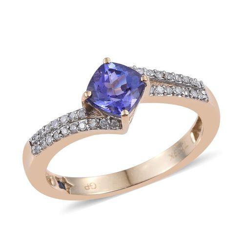 GP 9K Y Gold AA Tanzanite (Cush 1.25 Ct), Kanchanaburi Blue Sapphire and Diamond Ring 1.500 Ct.