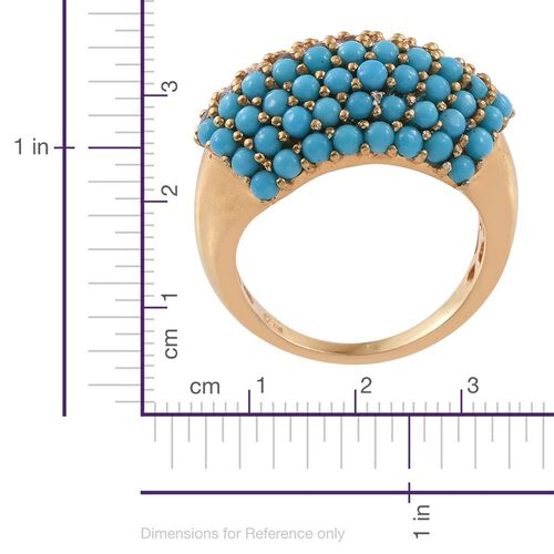 AA Sleeping Beauty Turquoise, Tanzanite 2.25ct Silver Ring in Gold Overlay