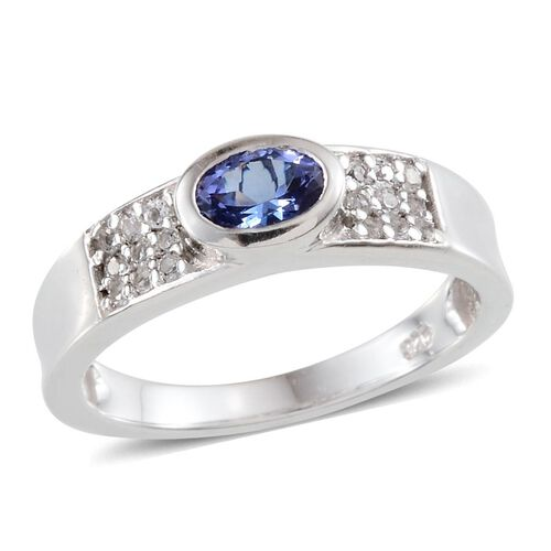 Tanzanite (Ovl 0.50 Ct), White Topaz Ring in Platinum Overlay Sterling Silver 0.750 Ct.