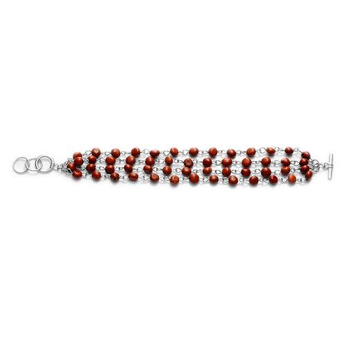 Red Jasper Bracelet in Silver Tone (Size 7.5)