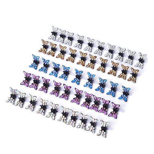 Set of 50 Butterfly Hairpins in Black Tone