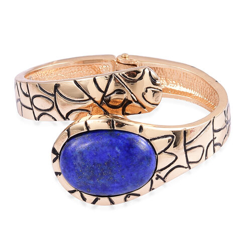 Lapis Lazuli Bangle Watch in Yellow Gold Tone 30.000 Ct.