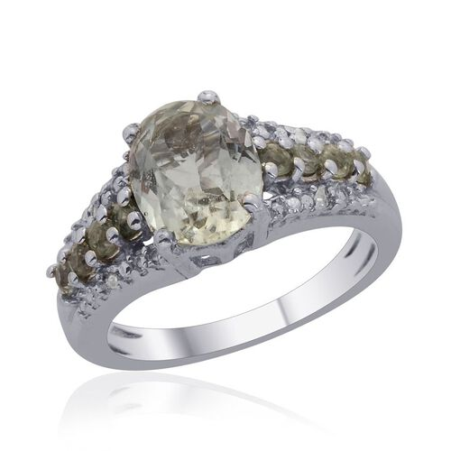 Green Sillimanite (Ovl 1.75 Ct), Green Sapphire and Diamond Ring in Platinum Overlay Sterling Silver 2.000 Ct.