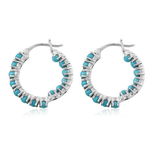 Arizona Sleeping Beauty Turquoise (Rnd) Hoop Earrings (with Clasp) in Platinum Overlay Sterling Silver 4.000 Ct.
