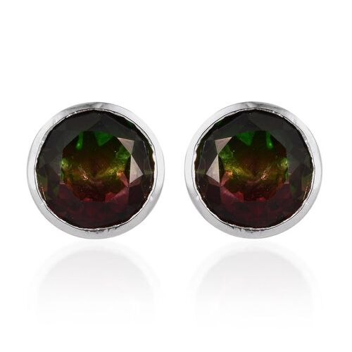Tourmaline Colour Quartz (Rnd) Stud Earrings (with Push Back) in Platinum Overlay Sterling Silver 8.000 Ct.