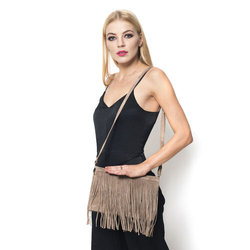 Genuine Leather Dark Beige  Colour Sling Bag with Fringes and Adjustable and Removable Shoulder Strap (Size 28x17x7 Cm)